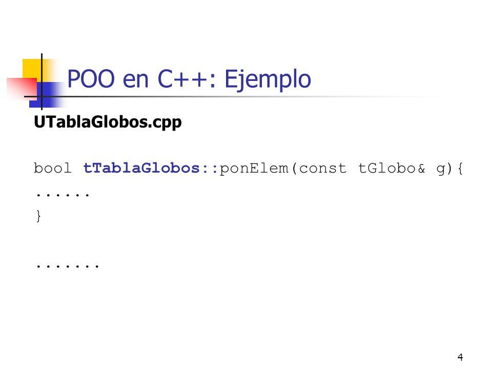 15 POO en C++: Un ejemplo Podríamos tener la clase Racional como: class RacionalP{ private: int* num; int* den; int mcd(int a, int b); public: // constructoras RacionalP(int n=0, int d=1){ num=new int; den=new int; *num=n; *den=d;}; RacionalP(const Racional& r){ num=new int;den=new int;*num=*(r.num);*den=*(r.den); }
