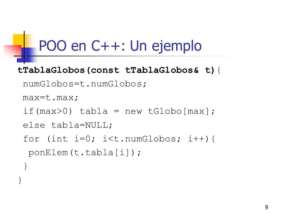 9 POO en C++: Un ejemplo tTablaGlobos(const tTablaGlobos& t){ numGlobos=t.numGlobos; max=t.max; if(max>0) tabla = new tGlobo[max]; else tabla=NULL; fo