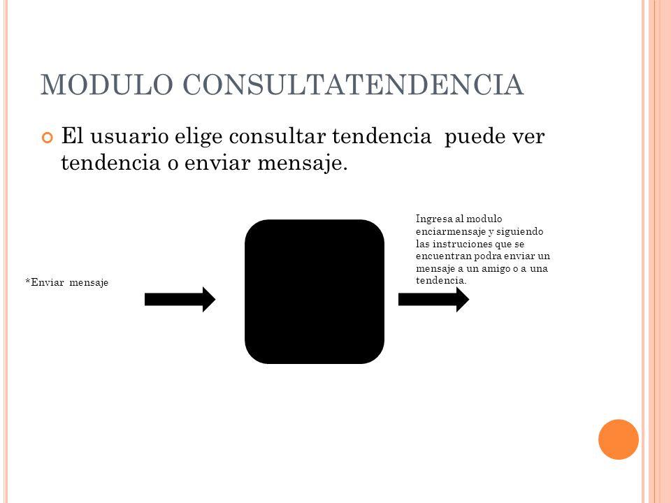 MODULO CONSULTATENDENCIA El usuario elige consultar tendencia puede ver tendencia o enviar mensaje. *Enviar mensaje Ingresa al modulo enciarmensaje y