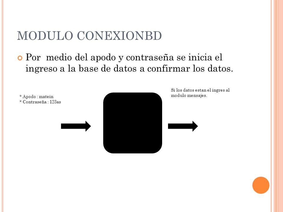 MODULO CONEXIONBD Por medio del apodo y contraseña se inicia el ingreso a la base de datos a confirmar los datos. * Apodo : matein * Contraseña : 123a