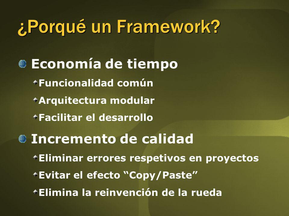 Economía de tiempo Funcionalidad común Arquitectura modular Facilitar el desarrollo Incremento de calidad Eliminar errores respetivos en proyectos Evitar el efecto Copy/Paste Elimina la reinvención de la rueda ¿Porqué un Framework?