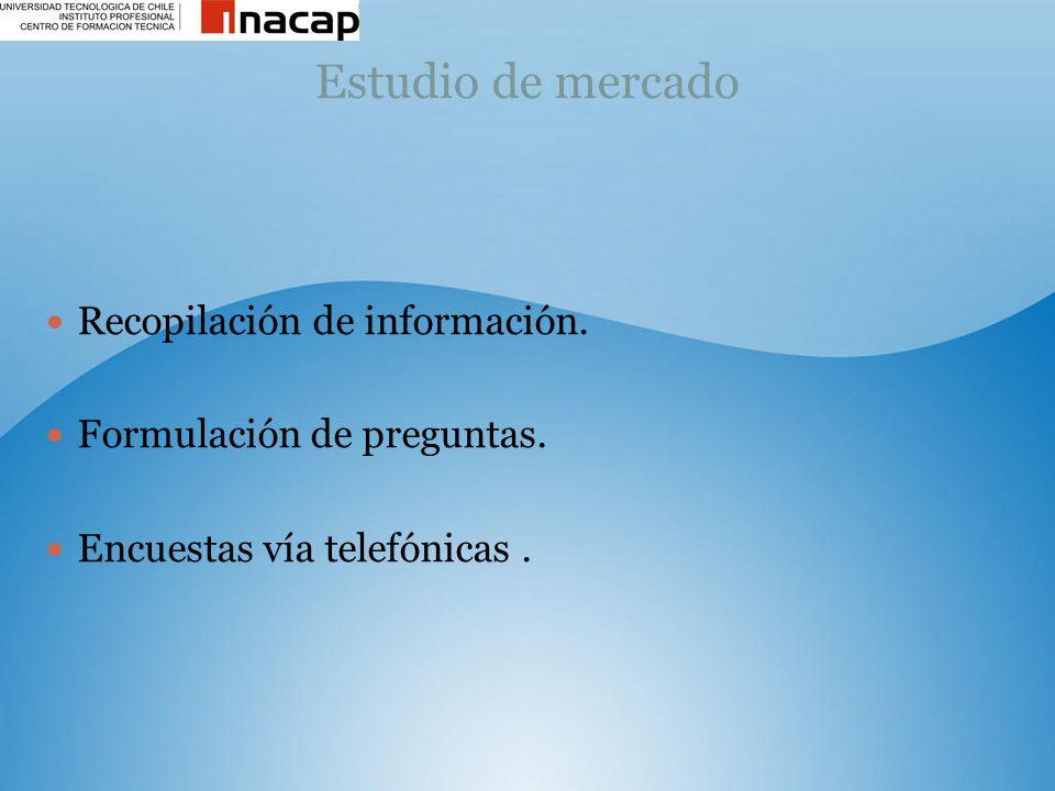 Estudio de mercado Recopilación de información. Formulación de preguntas. Encuestas vía telefónicas.