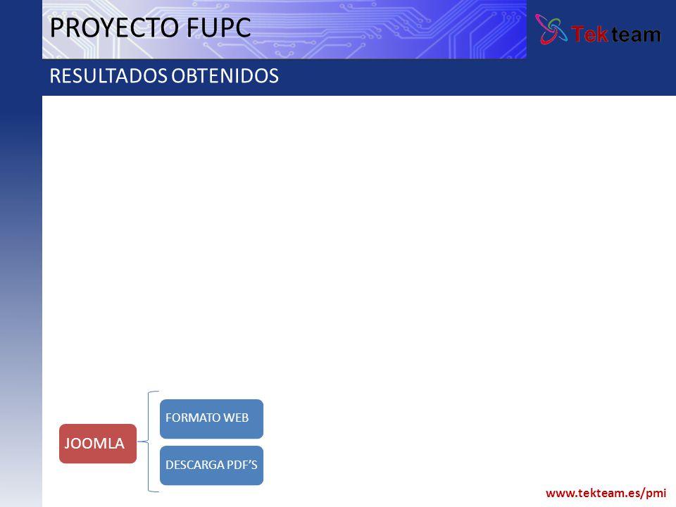 www.tekteam.es/pmi PROYECTO FUPC RESULTADOS OBTENIDOS FORMATO WEB JOOMLA DESCARGA PDFS