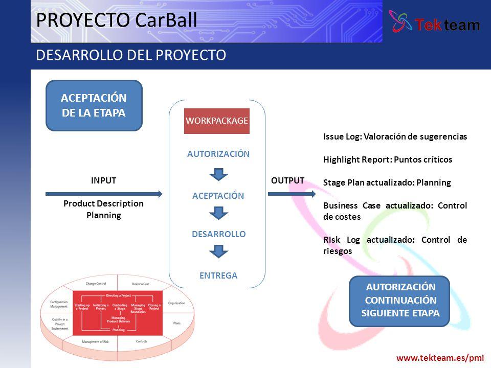 www.tekteam.es/pmi PROYECTO CarBall DESARROLLO DEL PROYECTO AUTORIZACIÓN ACEPTACIÓN DESARROLLO ENTREGA WORKPACKAGE ACEPTACIÓN DE LA ETAPA INPUT Produc