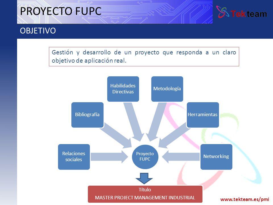 www.tekteam.es/pmi Proyecto FUPC Relaciones sociales Bibliografía Habilidades Directivas MetodologíaHerramientasNetworking PROYECTO FUPC OBJETIVO Títu