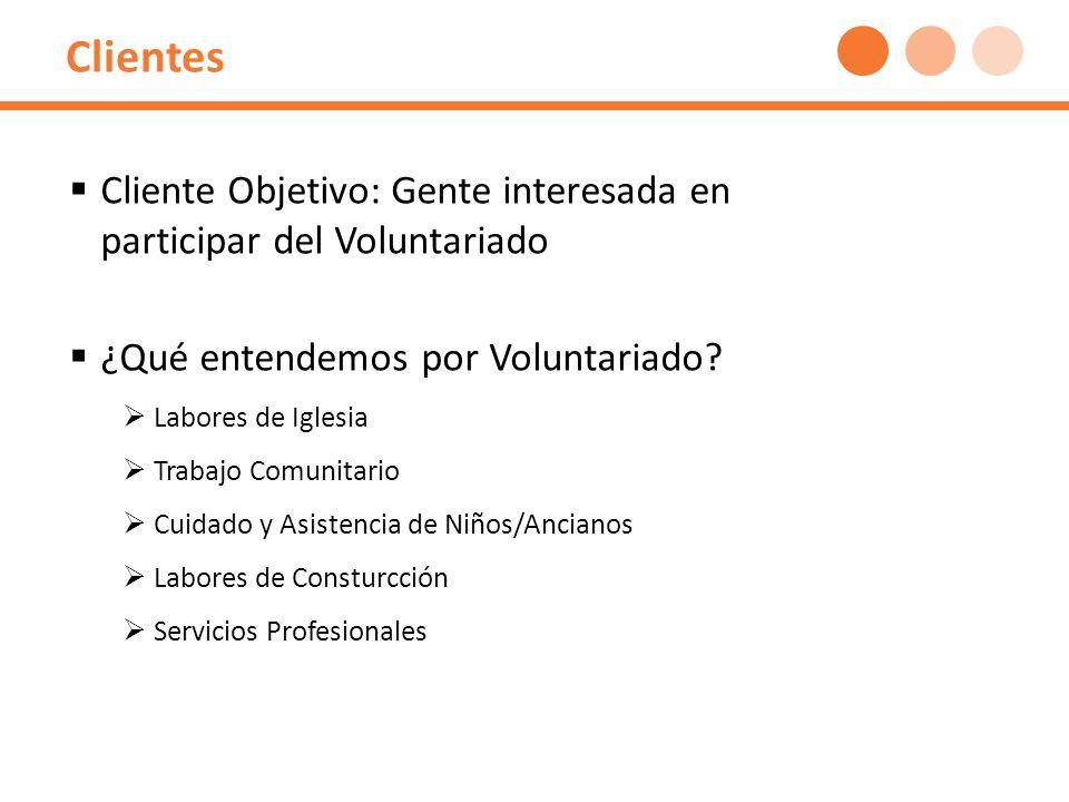 Clientes Cliente Objetivo: Gente interesada en participar del Voluntariado ¿Qué entendemos por Voluntariado.