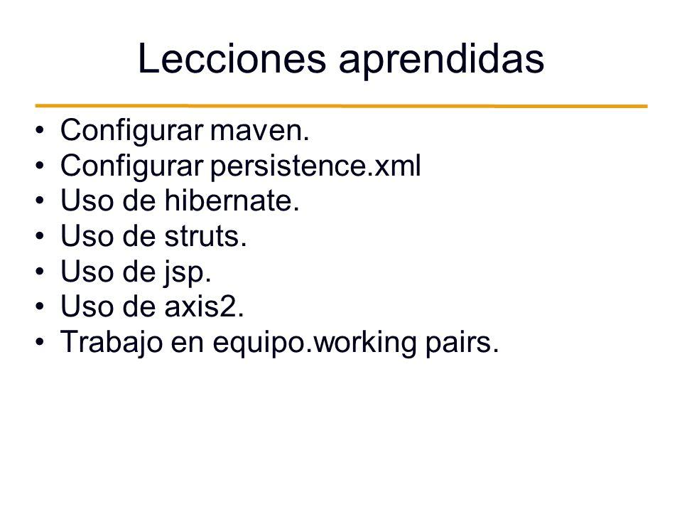 Lecciones aprendidas Configurar maven. Configurar persistence.xml Uso de hibernate. Uso de struts. Uso de jsp. Uso de axis2. Trabajo en equipo.working