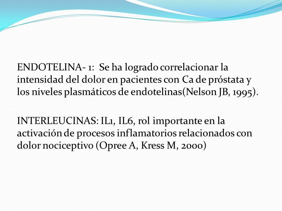 ENDOTELINA- 1: Se ha logrado correlacionar la intensidad del dolor en pacientes con Ca de próstata y los niveles plasmáticos de endotelinas(Nelson JB,