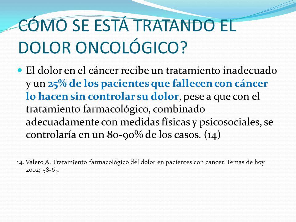 CÓMO SE ESTÁ TRATANDO EL DOLOR ONCOLÓGICO? El dolor en el cáncer recibe un tratamiento inadecuado y un 25% de los pacientes que fallecen con cáncer lo
