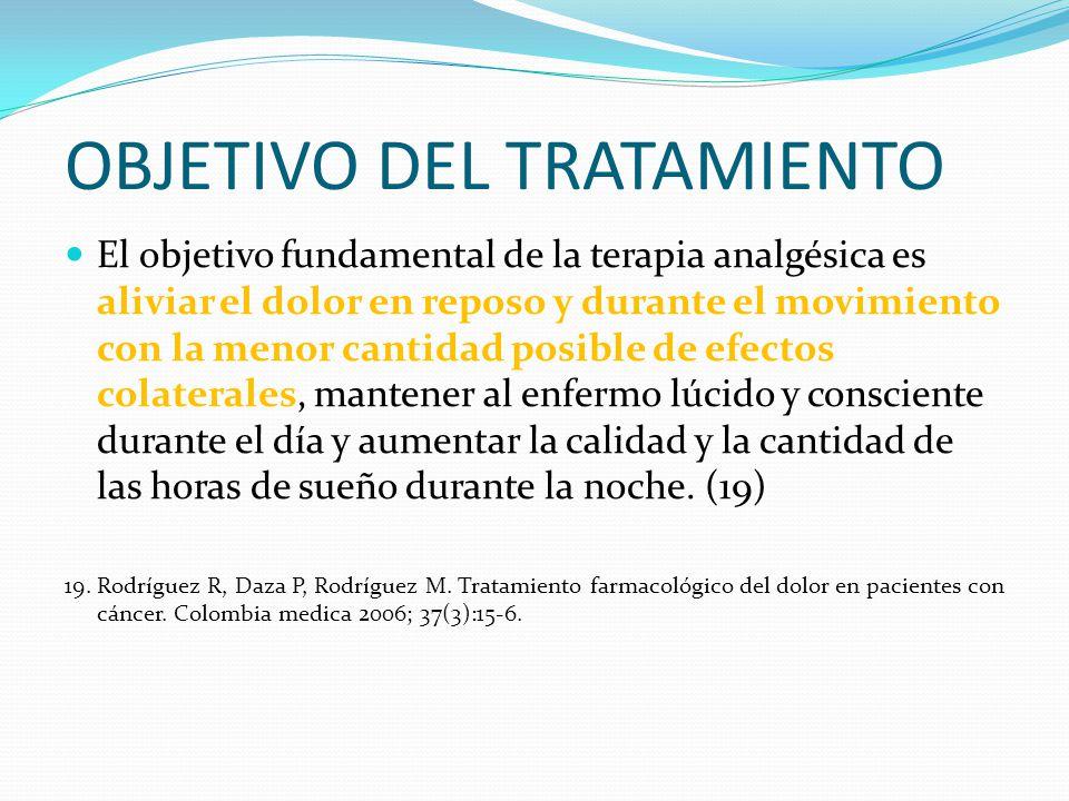 OBJETIVO DEL TRATAMIENTO El objetivo fundamental de la terapia analgésica es aliviar el dolor en reposo y durante el movimiento con la menor cantidad