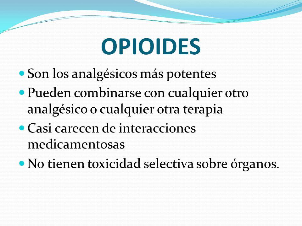 OPIOIDES Son los analgésicos más potentes Pueden combinarse con cualquier otro analgésico o cualquier otra terapia Casi carecen de interacciones medic