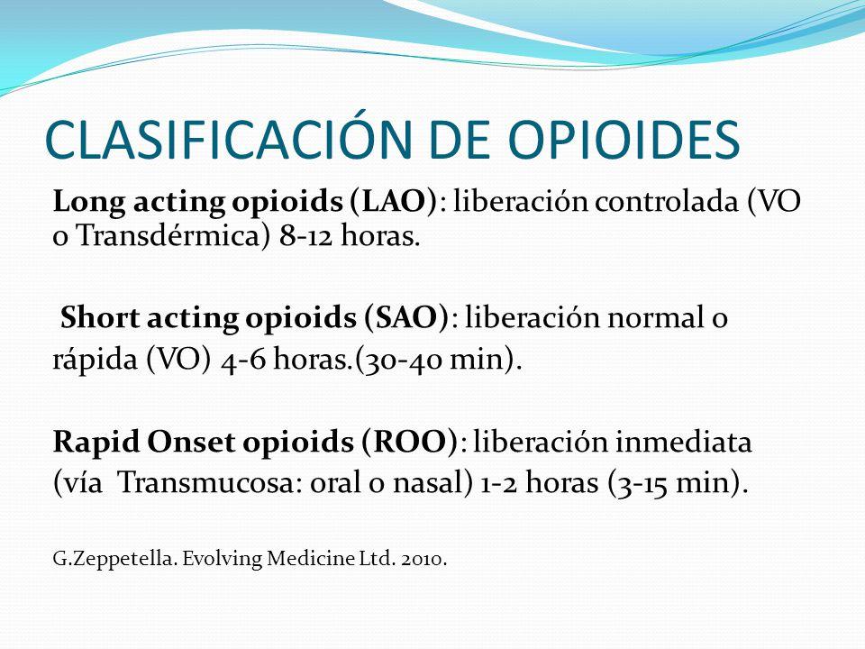 CLASIFICACIÓN DE OPIOIDES Long acting opioids (LAO): liberación controlada (VO o Transdérmica) 8-12 horas. Short acting opioids (SAO): liberación norm