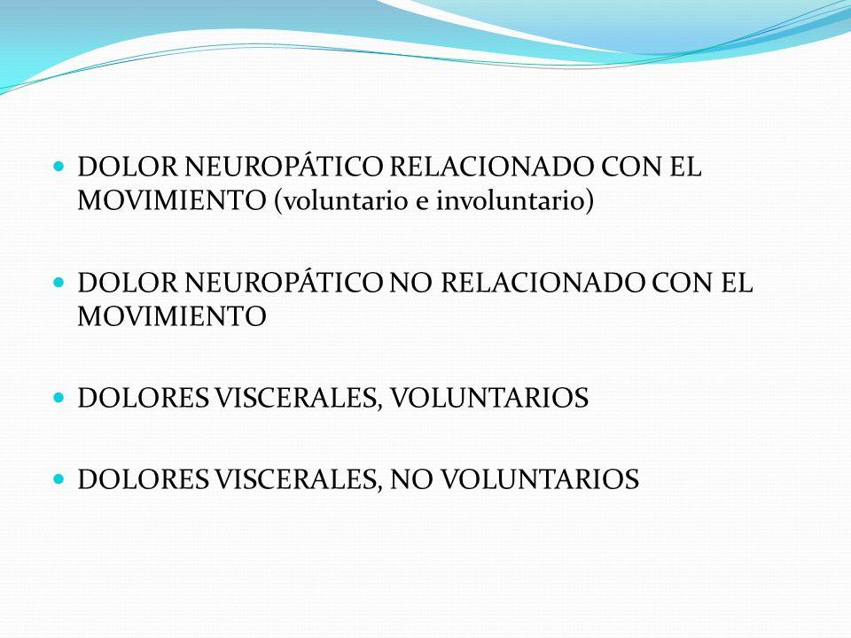 DOLOR NEUROPÁTICO RELACIONADO CON EL MOVIMIENTO (voluntario e involuntario) DOLOR NEUROPÁTICO NO RELACIONADO CON EL MOVIMIENTO DOLORES VISCERALES, VOL
