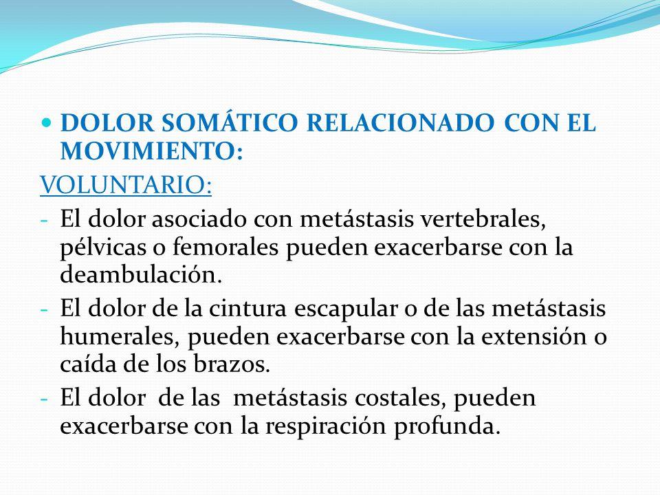 DOLOR SOMÁTICO RELACIONADO CON EL MOVIMIENTO: VOLUNTARIO: - El dolor asociado con metástasis vertebrales, pélvicas o femorales pueden exacerbarse con