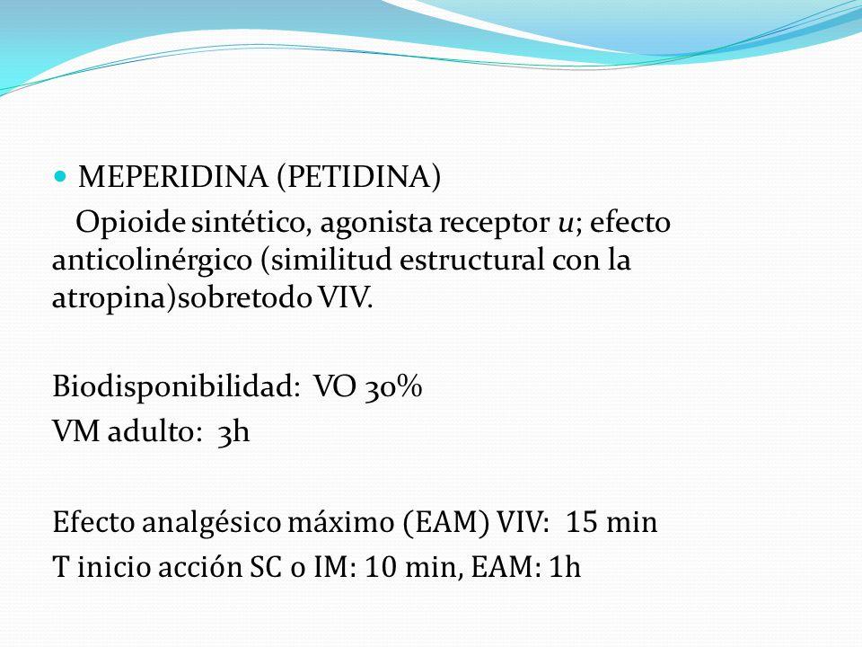 MEPERIDINA (PETIDINA) Opioide sintético, agonista receptor u; efecto anticolinérgico (similitud estructural con la atropina)sobretodo VIV. Biodisponib