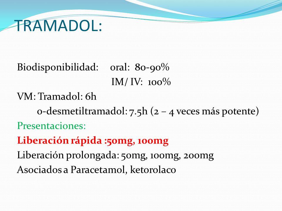 TRAMADOL: Biodisponibilidad: oral: 80-90% IM/ IV: 100% VM: Tramadol: 6h o-desmetiltramadol: 7.5h (2 – 4 veces más potente) Presentaciones: Liberación