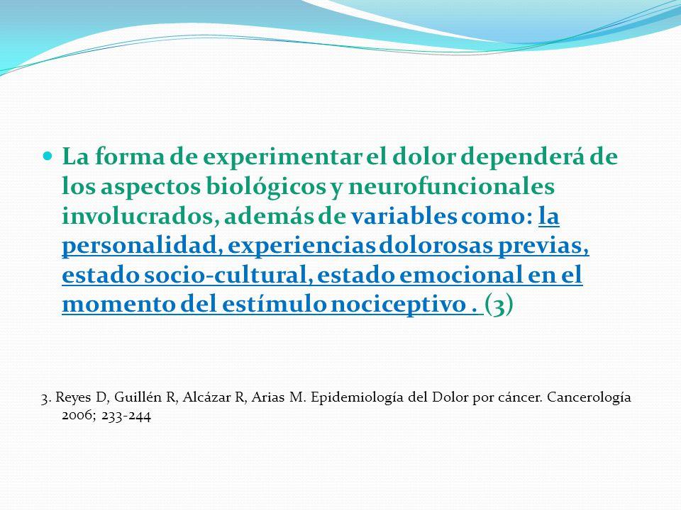 La forma de experimentar el dolor dependerá de los aspectos biológicos y neurofuncionales involucrados, además de variables como: la personalidad, exp