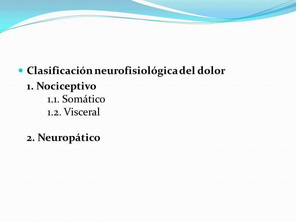 Clasificación neurofisiológica del dolor 1. Nociceptivo 1.1. Somático 1.2. Visceral 2. Neuropático
