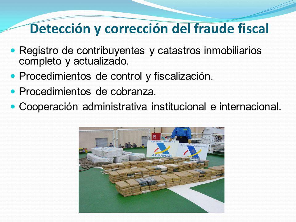 Registro de contribuyentes y catastros inmobiliarios completo y actualizado. Procedimientos de control y fiscalización. Procedimientos de cobranza. Co