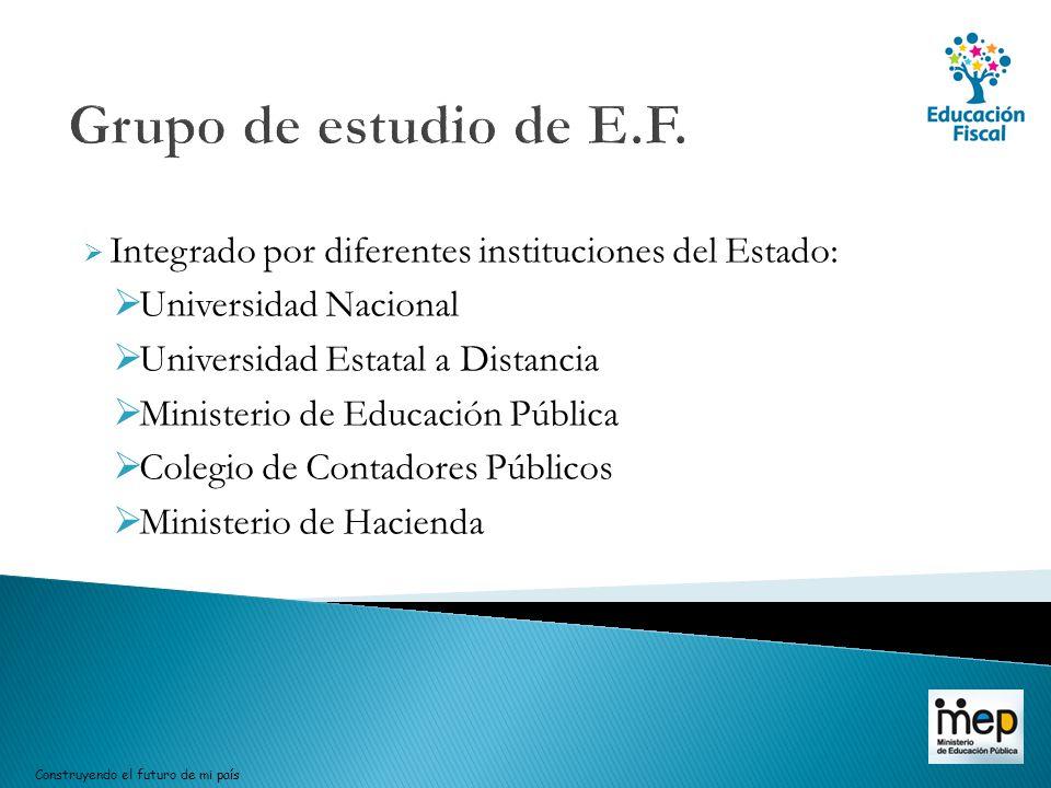 Integrado por diferentes instituciones del Estado: Universidad Nacional Universidad Estatal a Distancia Ministerio de Educación Pública Colegio de Con