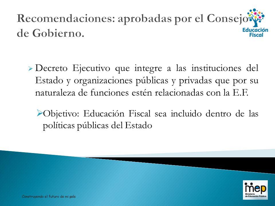 Recomendaciones: aprobadas por el Consejo de Gobierno. Decreto Ejecutivo que integre a las instituciones del Estado y organizaciones públicas y privad