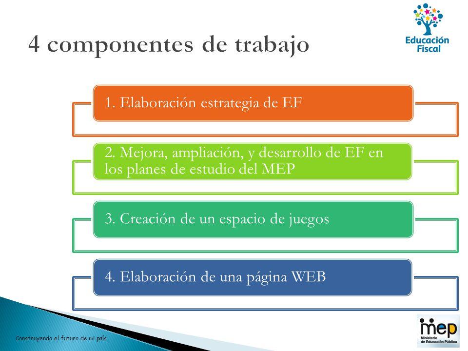 1. Elaboración estrategia de EF 2. Mejora, ampliación, y desarrollo de EF en los planes de estudio del MEP 3. Creación de un espacio de juegos4. Elabo