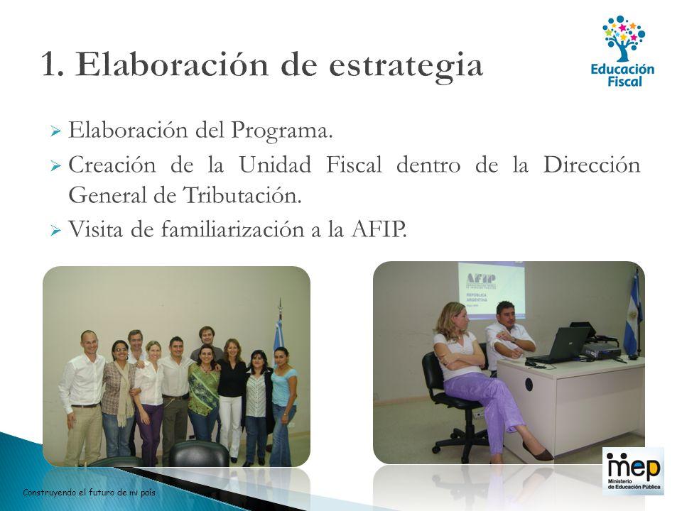 Elaboración del Programa. Creación de la Unidad Fiscal dentro de la Dirección General de Tributación. Visita de familiarización a la AFIP. Construyend