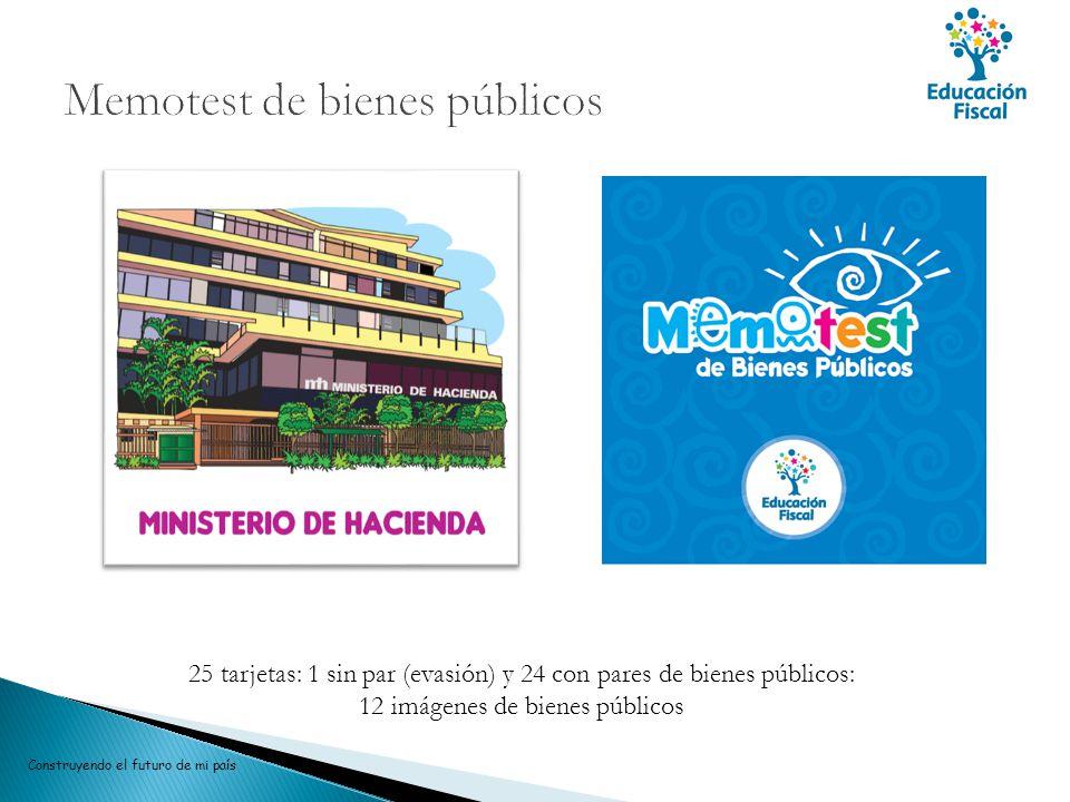 Construyendo el futuro de mi país 25 tarjetas: 1 sin par (evasión) y 24 con pares de bienes públicos: 12 imágenes de bienes públicos