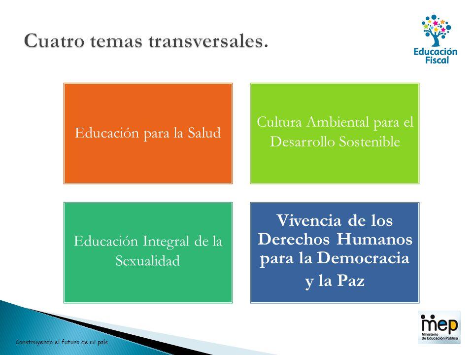Educación para la Salud Cultura Ambiental para el Desarrollo Sostenible Educación Integral de la Sexualidad Vivencia de los Derechos Humanos para la D