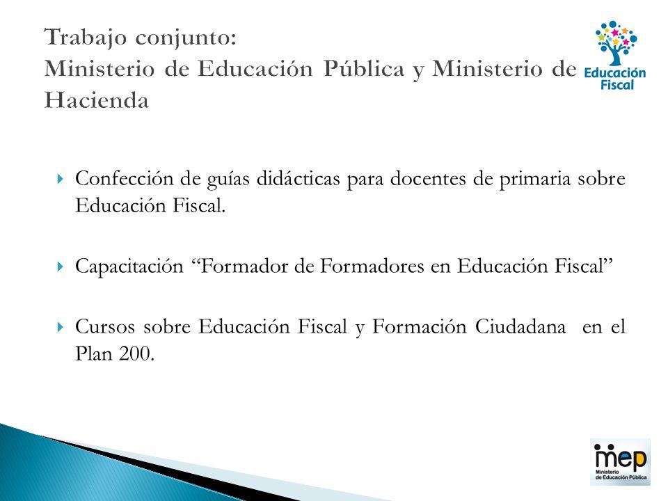Confección de guías didácticas para docentes de primaria sobre Educación Fiscal. Capacitación Formador de Formadores en Educación Fiscal Cursos sobre