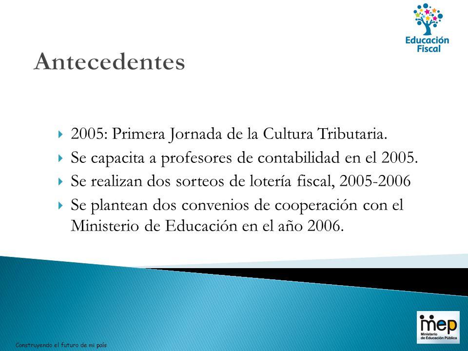 2005: Primera Jornada de la Cultura Tributaria. Se capacita a profesores de contabilidad en el 2005. Se realizan dos sorteos de lotería fiscal, 2005-2