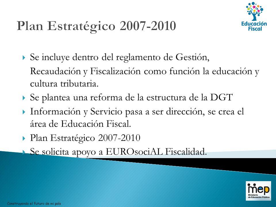 Plan Estratégico 2007-2010 Se incluye dentro del reglamento de Gestión, Recaudación y Fiscalización como función la educación y cultura tributaria. Se
