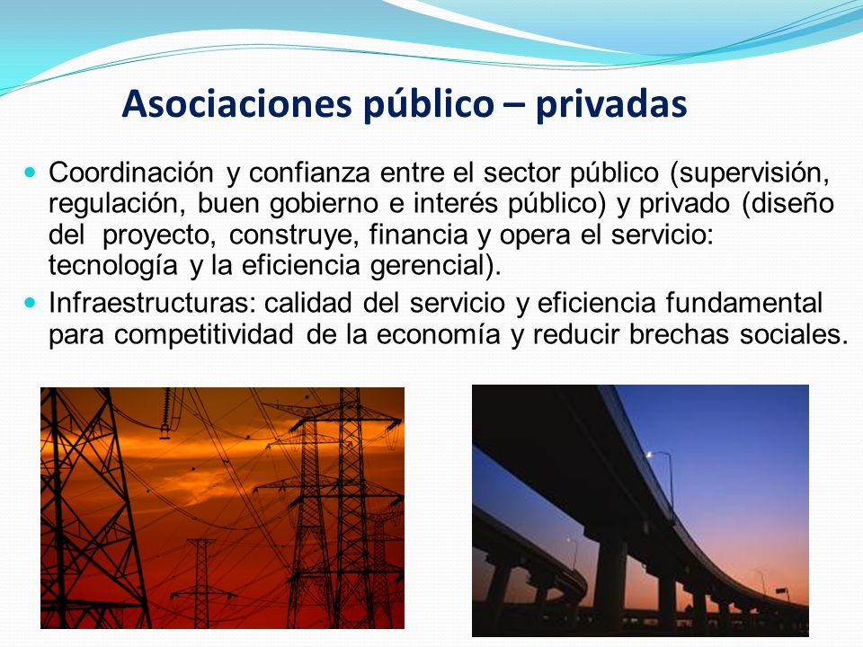 Asociaciones público – privadas Coordinación y confianza entre el sector público (supervisión, regulación, buen gobierno e interés público) y privado (diseño del proyecto, construye, financia y opera el servicio: tecnología y la eficiencia gerencial).
