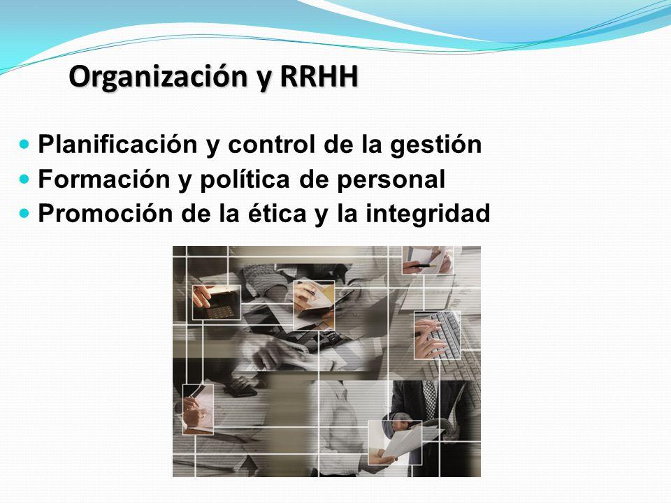Organización y RRHH Planificación y control de la gestión Formación y política de personal Promoción de la ética y la integridad