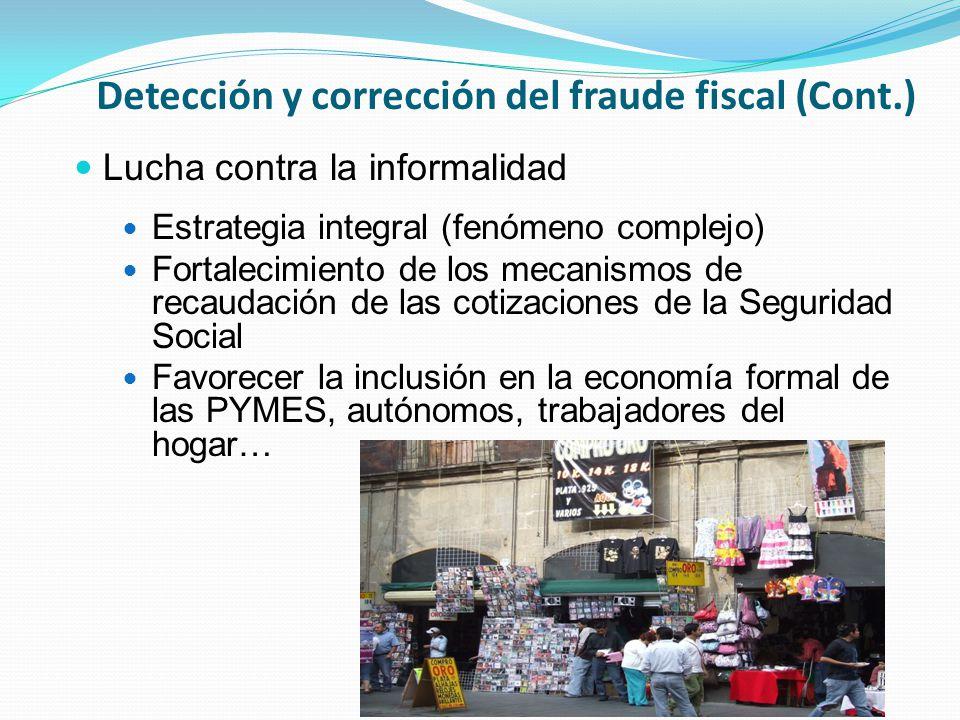 Detección y corrección del fraude fiscal (Cont.) Lucha contra la informalidad Estrategia integral (fenómeno complejo) Fortalecimiento de los mecanismos de recaudación de las cotizaciones de la Seguridad Social Favorecer la inclusión en la economía formal de las PYMES, autónomos, trabajadores del hogar…