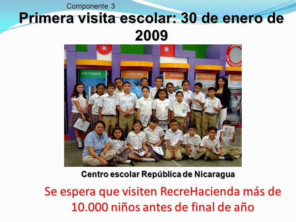 Primera visita escolar: 30 de enero de 2009 Componente 3 Centro escolar República de Nicaragua Se espera que visiten RecreHacienda más de 10.000 niños antes de final de año