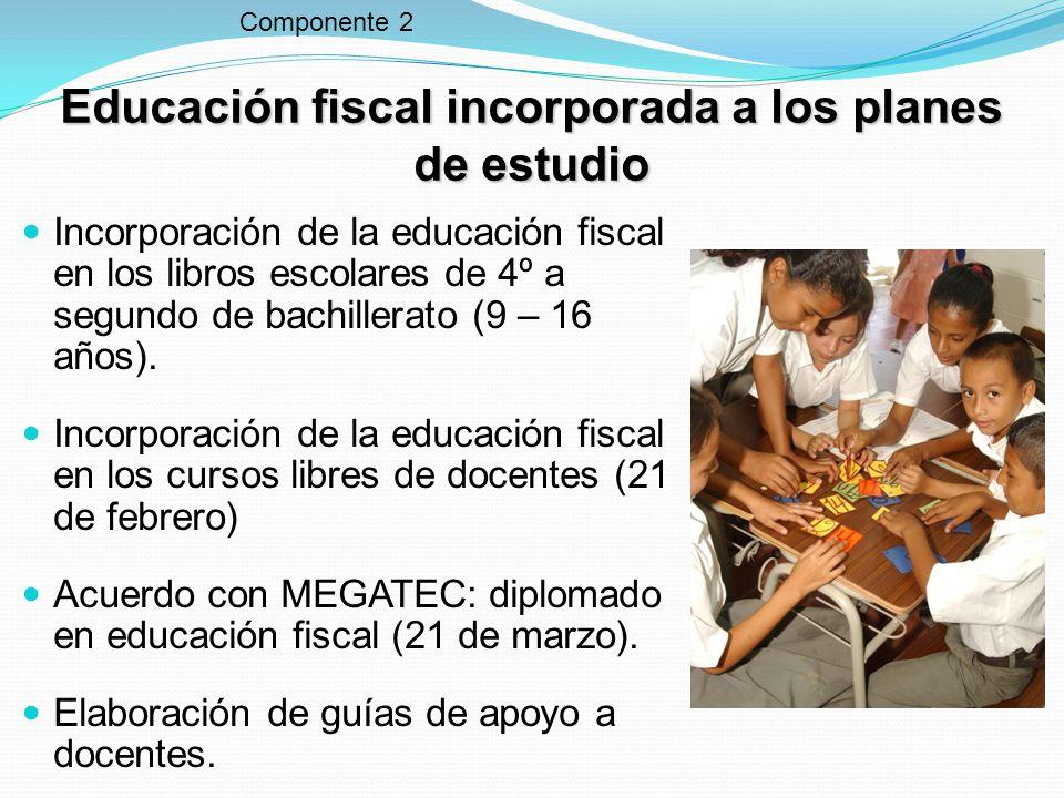 Educación fiscal incorporada a los planes de estudio Incorporación de la educación fiscal en los libros escolares de 4º a segundo de bachillerato (9 – 16 años).