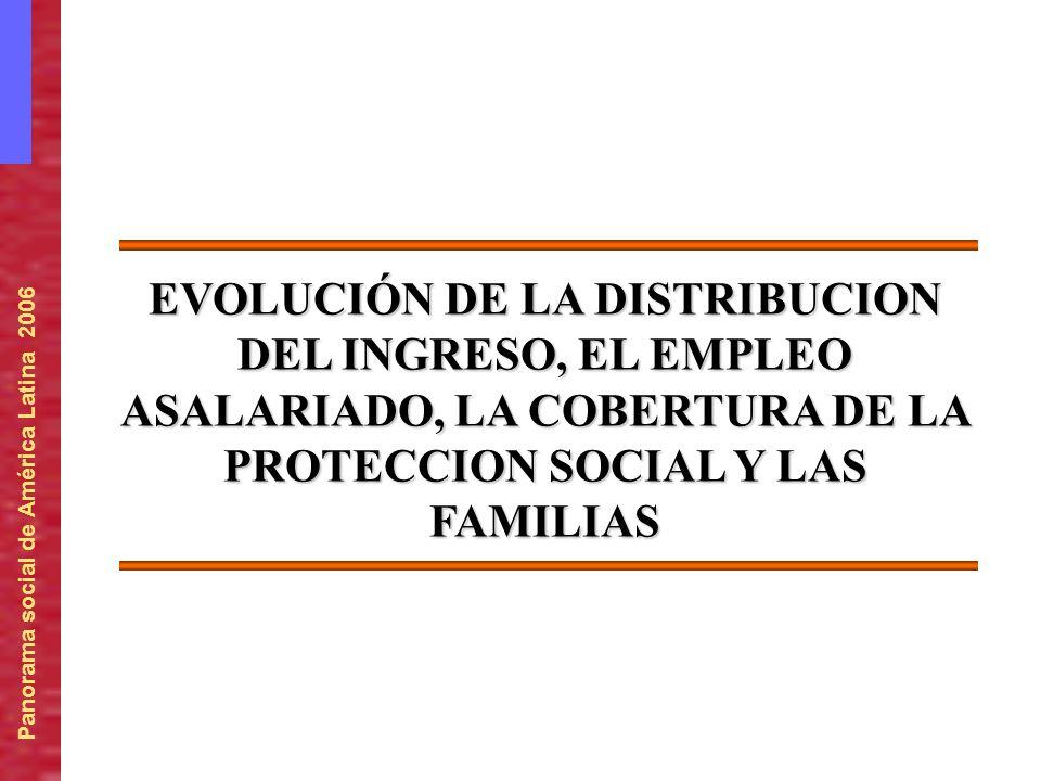 Panorama social de América Latina 2006 EVOLUCIÓN DE LA DISTRIBUCION DEL INGRESO, EL EMPLEO ASALARIADO, LA COBERTURA DE LA PROTECCION SOCIAL Y LAS FAMI