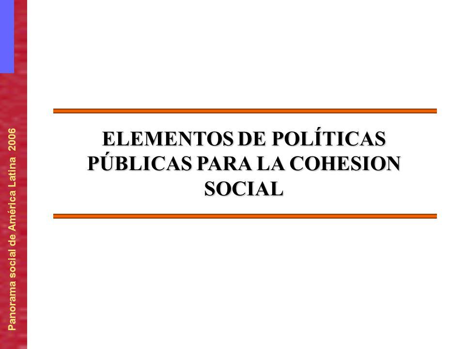 Panorama social de América Latina 2006 ELEMENTOS DE POLÍTICAS PÚBLICAS PARA LA COHESION SOCIAL