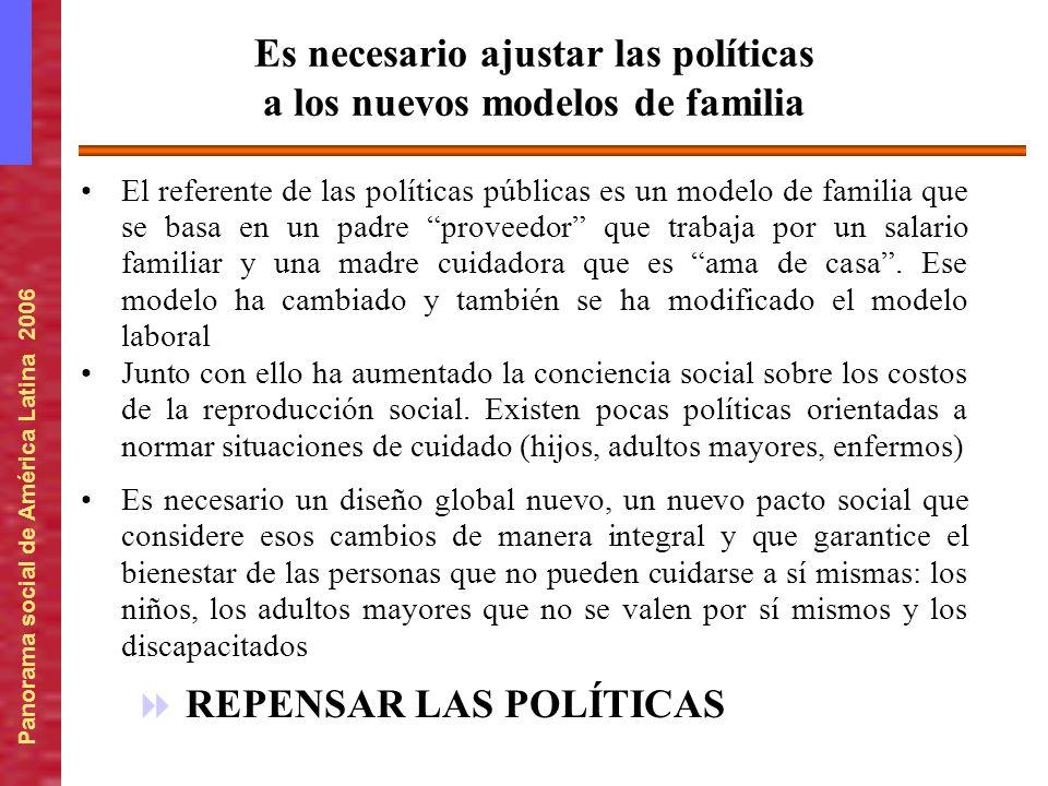Panorama social de América Latina 2006 El referente de las políticas públicas es un modelo de familia que se basa en un padre proveedor que trabaja po
