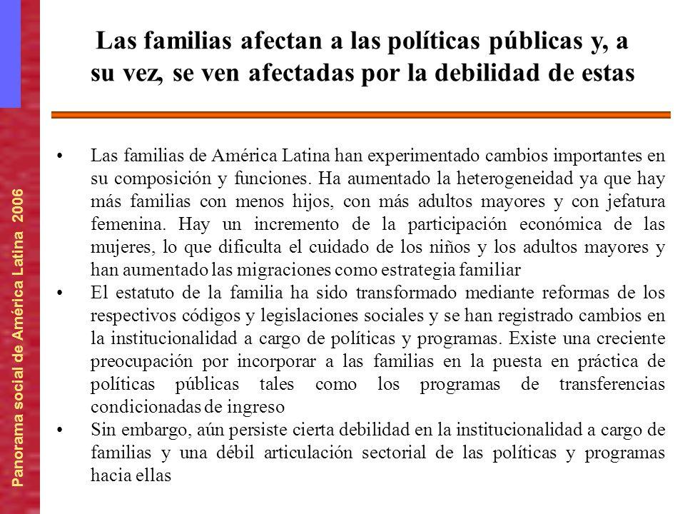 Panorama social de América Latina 2006 Las familias de América Latina han experimentado cambios importantes en su composición y funciones. Ha aumentad