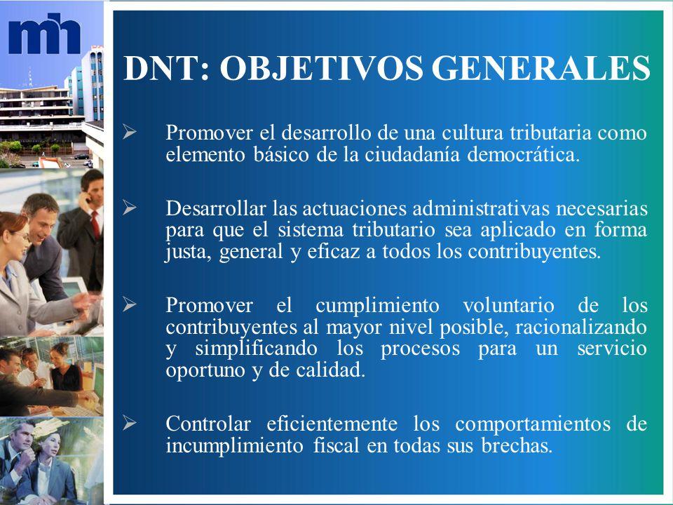 DNT: OBJETIVOS GENERALES Promover el desarrollo de una cultura tributaria como elemento básico de la ciudadanía democrática.