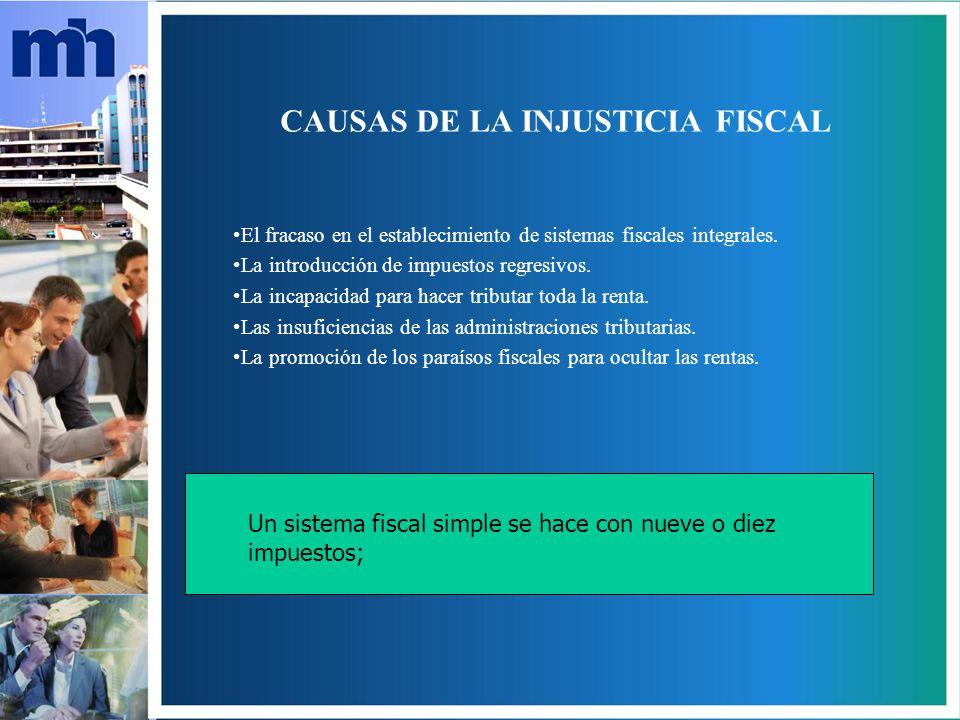 CAUSAS DE LA INJUSTICIA FISCAL El fracaso en el establecimiento de sistemas fiscales integrales.