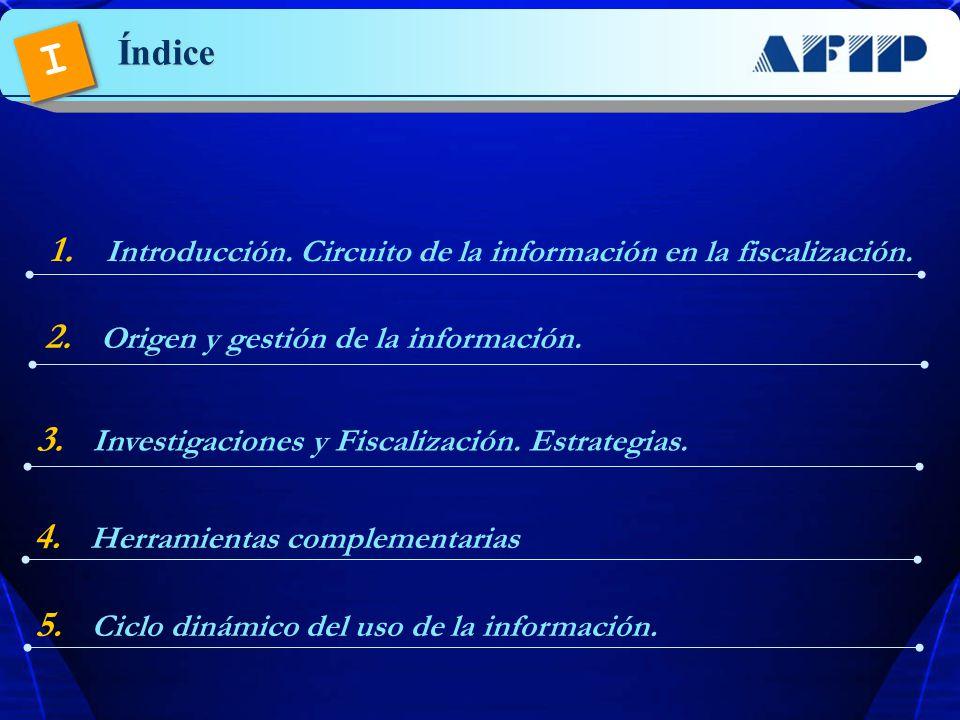 1. Introducción. Circuito de la información en la fiscalización. 2. Origen y gestión de la información. 3. Investigaciones y Fiscalización. Estrategia