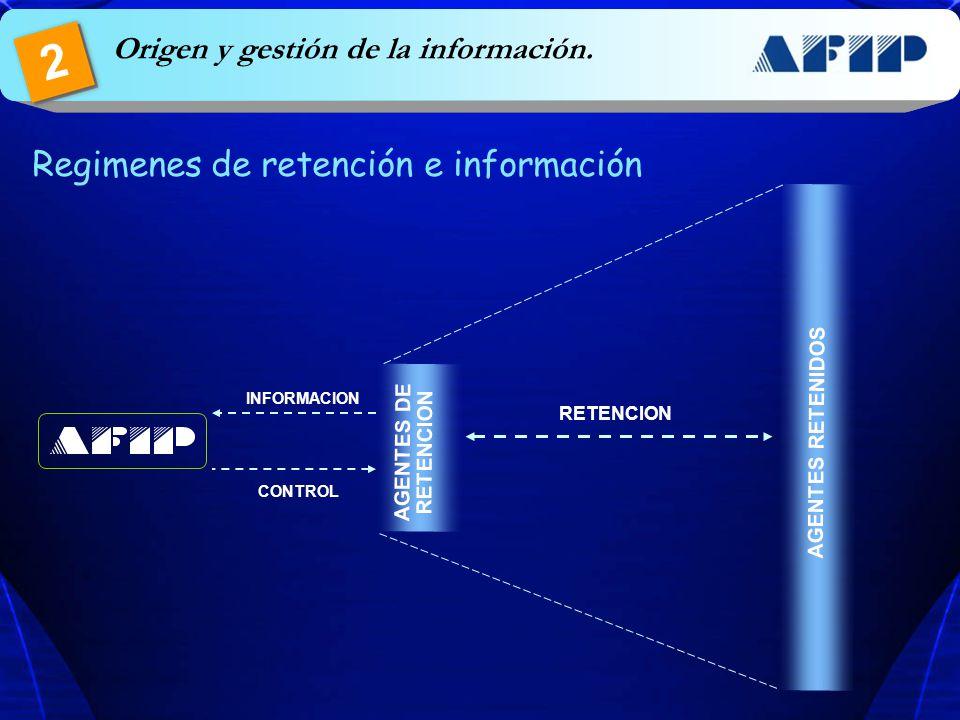 Regimenes de retención e información AGENTES DE RETENCION AGENTES RETENIDOS RETENCION INFORMACION CONTROL Origen y gestión de la información. 2