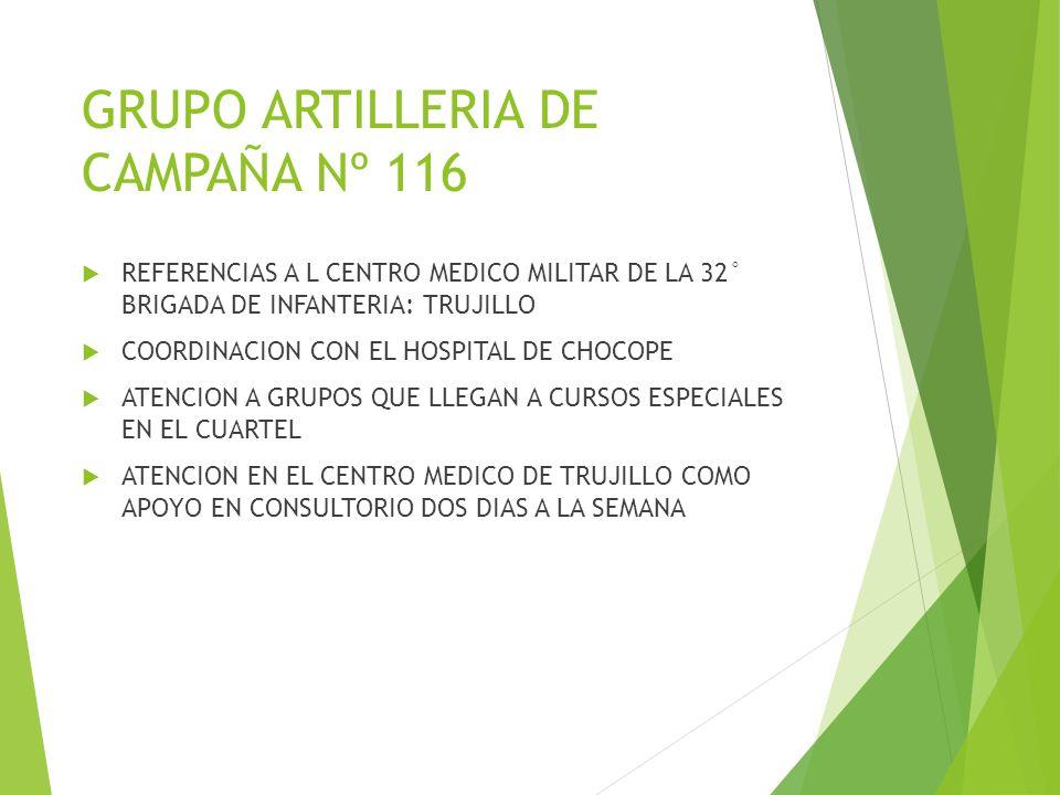 GRUPO ARTILLERIA DE CAMPAÑA Nº 116 REFERENCIAS A L CENTRO MEDICO MILITAR DE LA 32° BRIGADA DE INFANTERIA: TRUJILLO COORDINACION CON EL HOSPITAL DE CHO