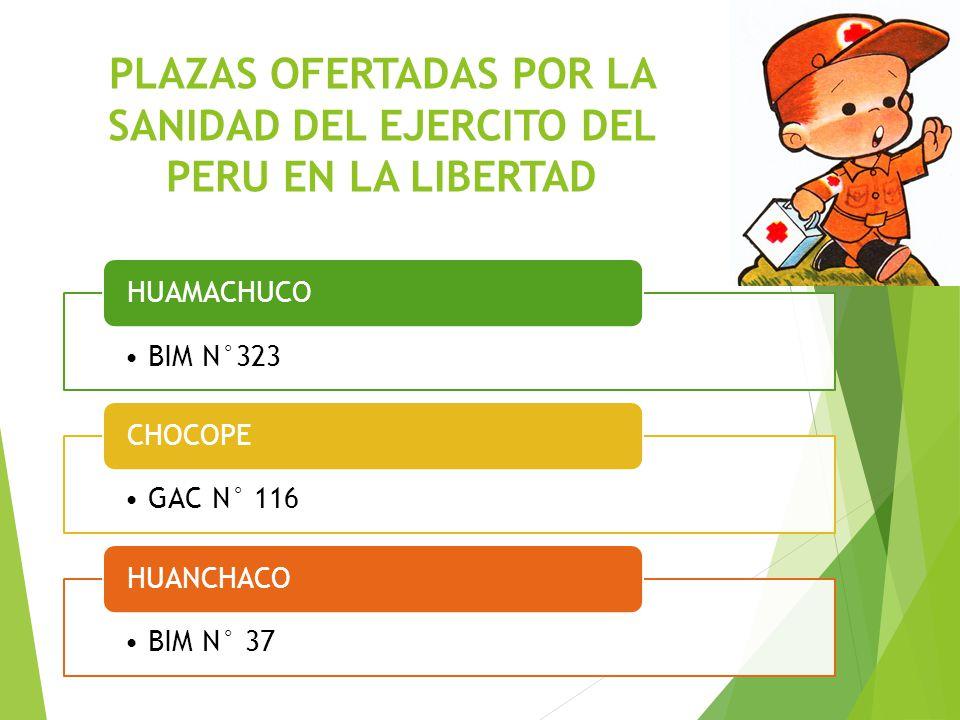 PLAZAS OFERTADAS POR LA SANIDAD DEL EJERCITO DEL PERU EN LA LIBERTAD BIM N°323 HUAMACHUCO GAC N° 116 CHOCOPE BIM N° 37 HUANCHACO