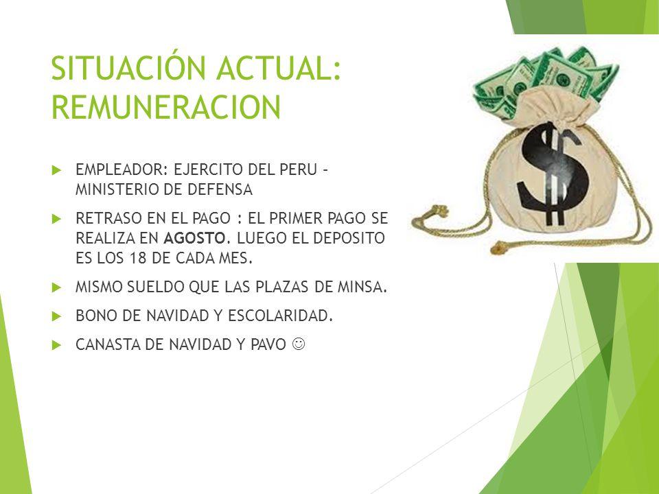 SITUACIÓN ACTUAL: REMUNERACION EMPLEADOR: EJERCITO DEL PERU – MINISTERIO DE DEFENSA RETRASO EN EL PAGO : EL PRIMER PAGO SE REALIZA EN AGOSTO. LUEGO EL
