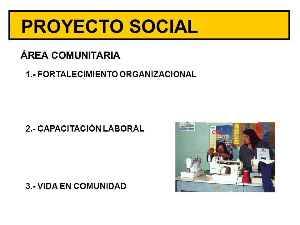 ÁREA COMUNITARIA 1.- FORTALECIMIENTO ORGANIZACIONAL 2.- CAPACITACIÓN LABORAL 3.- VIDA EN COMUNIDAD PROYECTO SOCIAL