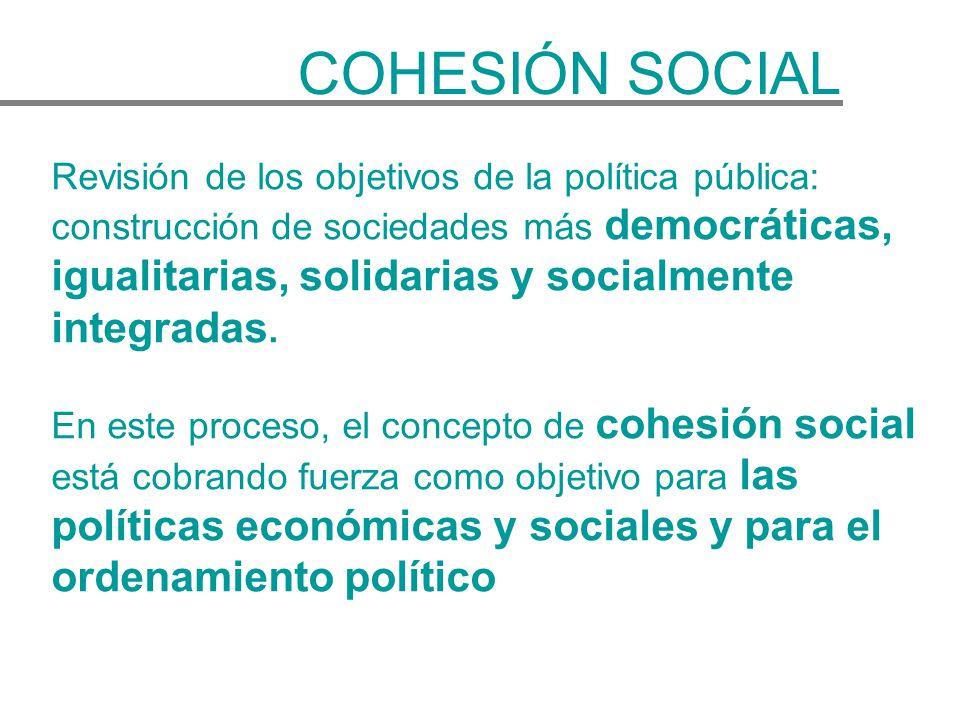 Revisión de los objetivos de la política pública: construcción de sociedades más democráticas, igualitarias, solidarias y socialmente integradas. En e